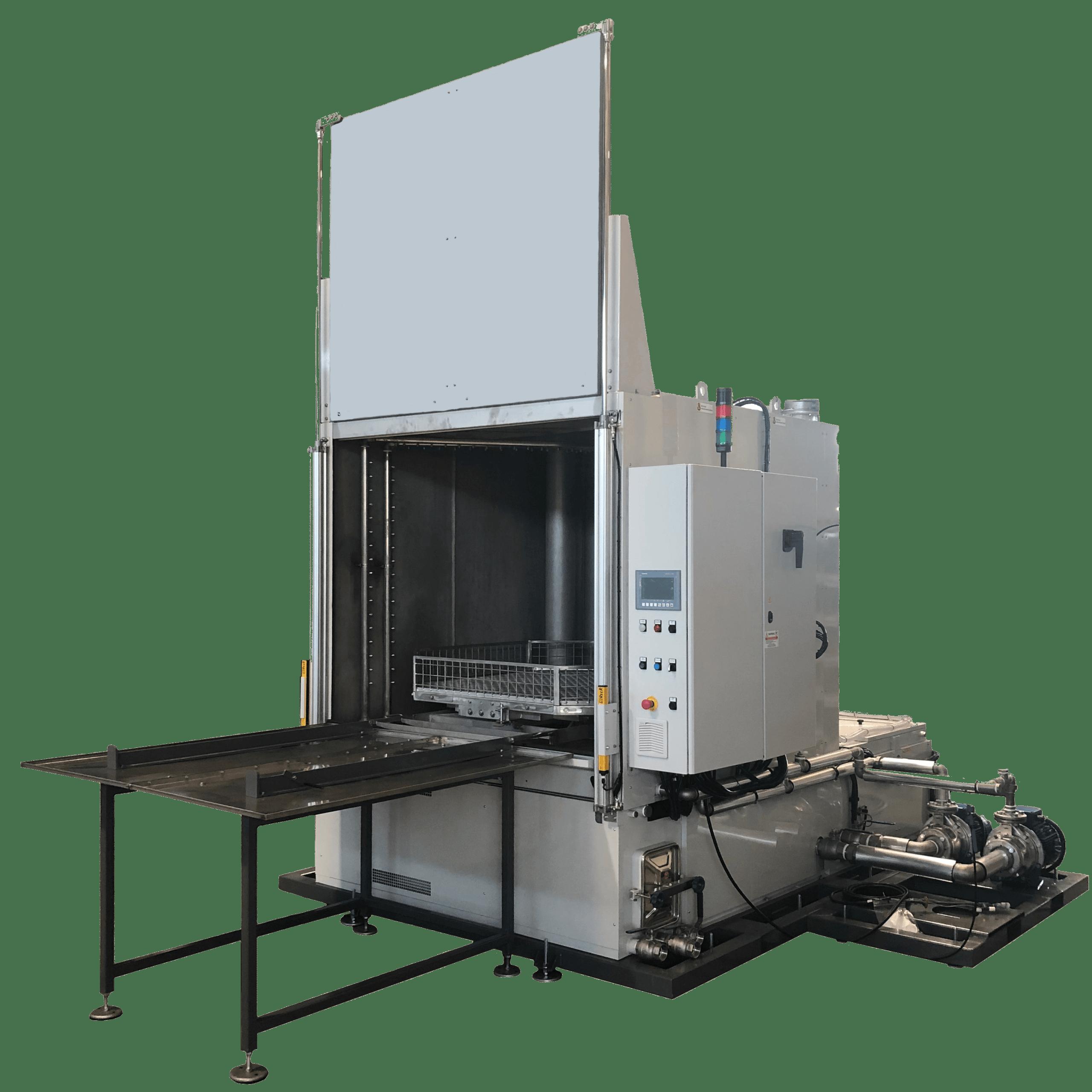 Die CM19 Metallwaschanlage steht für hohe Sauberkeitsanforderungen und kurze Zykluszeiten, selbst bei sehr großen zu reinigenden Werkstücken mit hohen Gewichten